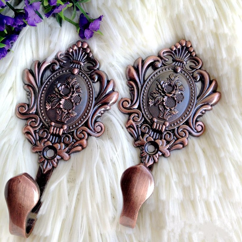 2pcs High quality Retro rose design door wall Tassel hooks holder