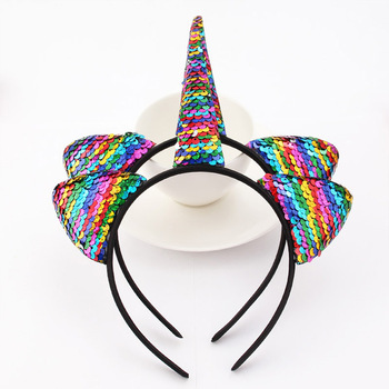 2018 1PC Cute Cartoon Sequins Glitter Unicorn Hairband Rainbow Unicorn Cat Ears Kid Party  Headband Hair Accessories For Women 1