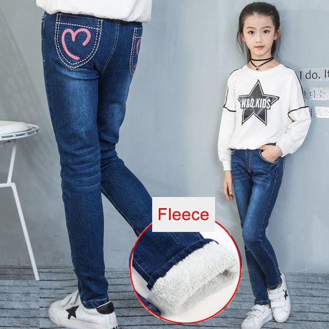 צמר ג ינס עבור בנות חורף ילדי בגדי 2019 בגיל ההתבגרות כותנה עבה חם קאובוי חותלות אלסטיות ג ינס מכנסיים ילדה 12 שנים