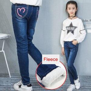Image 1 - De vaqueros para las niñas de invierno ropa de los niños de 2019 adolescentes de algodón grueso cálido mallas tipo vaqueros Vaquero elástico Pantalones Niña 12 años