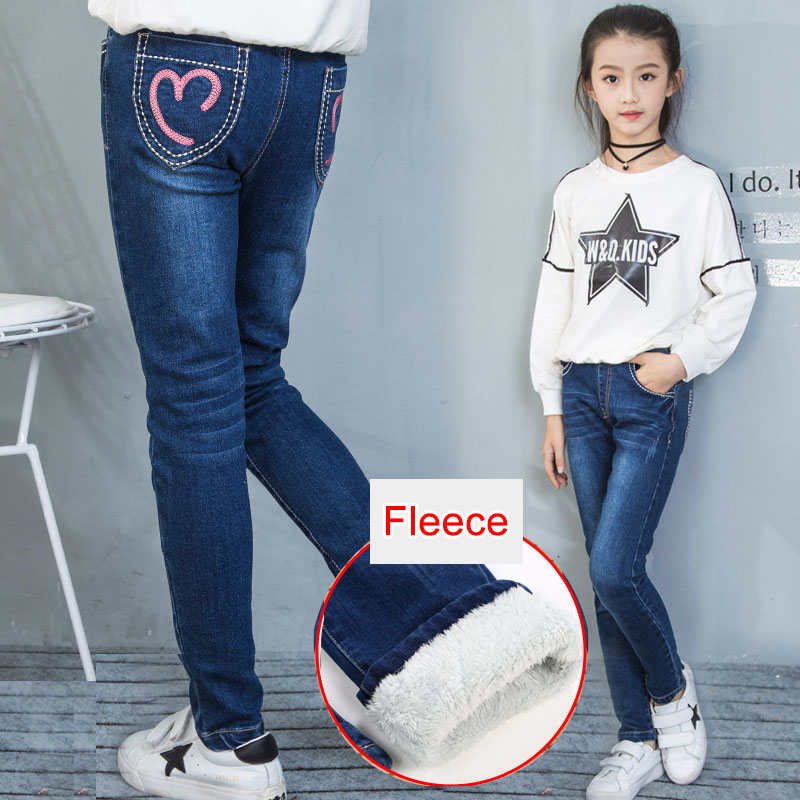 Fleece Jeans for Girls Winter Children Clothes 2018 Teenage Cotton Thick Warm Cowboy Leggings Elastic Denim Pants Girl 12 Years girl skinny ripped jeans teenage girl denim pants leggings cotton elasticity jeans for big girls pants casual trousers 3y 15y