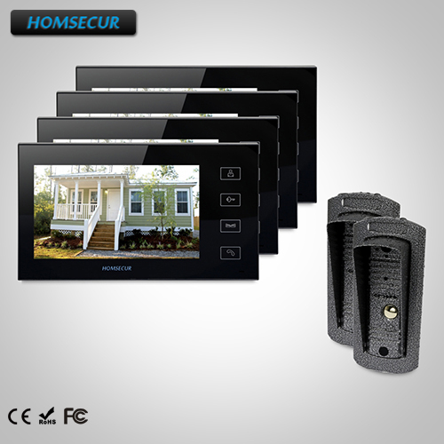 HOMSECUR 7 Wired Video&Audio Smart Doorbell+IR Night Vision for House/Flat TC041 Camera + TM704-B Monitor