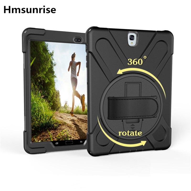 Pour Tab S3 SM-T820 Kids Safe Antichoc Heavy Duty Silicone Dur cas de Couverture Pour Samsung Galaxy Tab S3 9.7 T820 T825 Main tenir