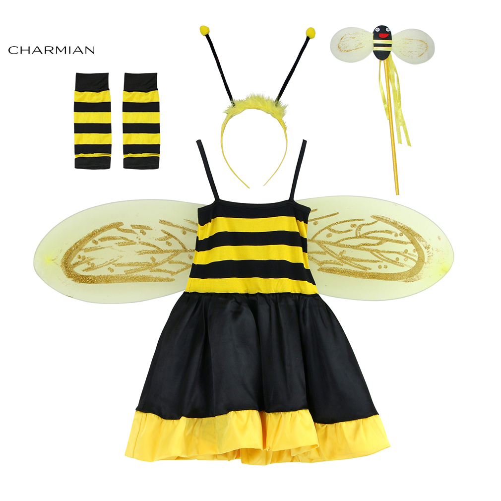 Charmian Cute Bee Halloween Costume Dress for Girls Fantasia Bee Kids Halloween Fancy Dresses Masquerade Party Cosplay Clothing