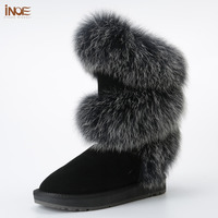 New Style Fashion Real Fox Fur Women High Winter Flats Snow Boots Cow Suede Leather Winter