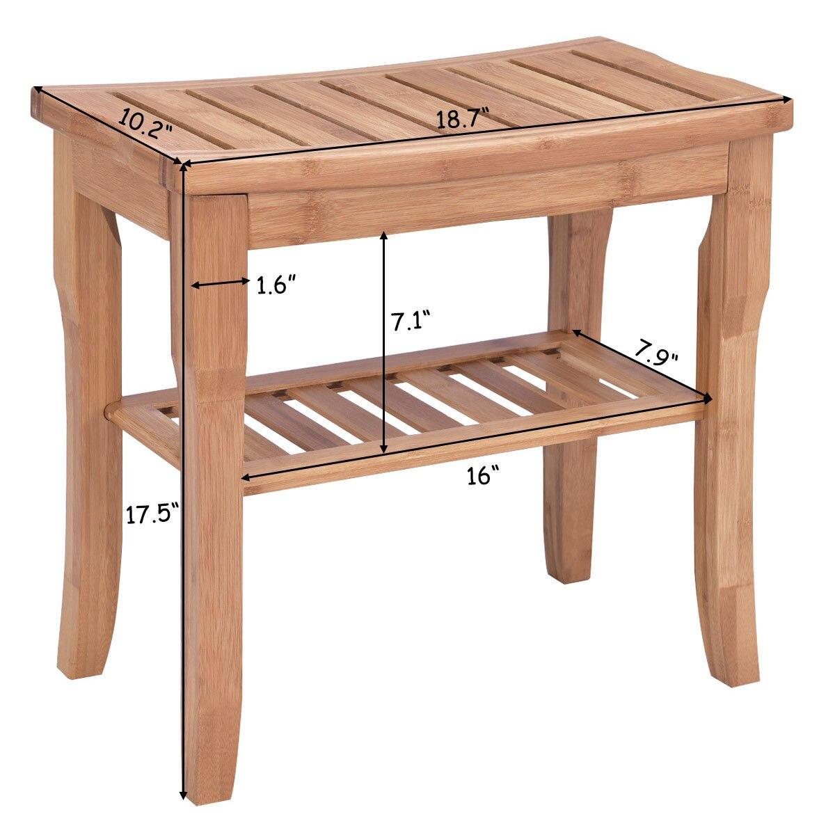 €37.58 |Giantex bambou chaise de douche siège banc moderne bois salle de  bain Spa bain organisateur tabouret avec étagère de rangement BA7268-in ...