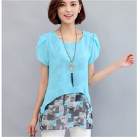 Women Blouses And Shirts 2017 Summer Short Sleeve Fashion Faux Two Piece Chiffon Blouse Plus Size