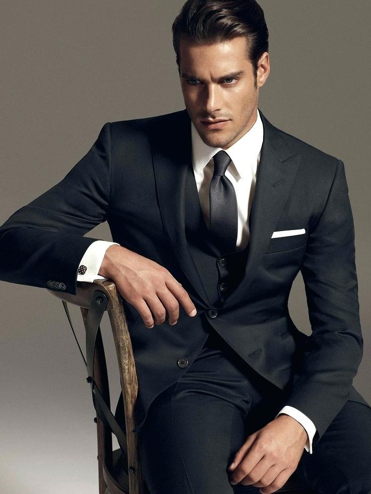 Mélange de laine noir Costume hommes Blazer Business moderne hommes Costume avec pantalon gilet Slim Fit bal formel veste smoking Costume Homme mâle