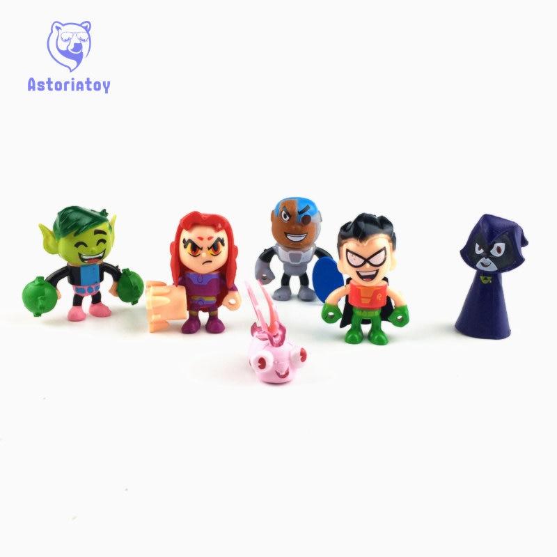 6pcs/lot Teen Titans Go Action Figures Toys Robin Beast Boy Raven Cyborg Titans Figure T ...