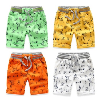 Cartoon Printed Horse Summer Boys Shorts Breathable Linen 100% Cotton Children Shorts For Girls 2-7 Years Kids Clothes 1
