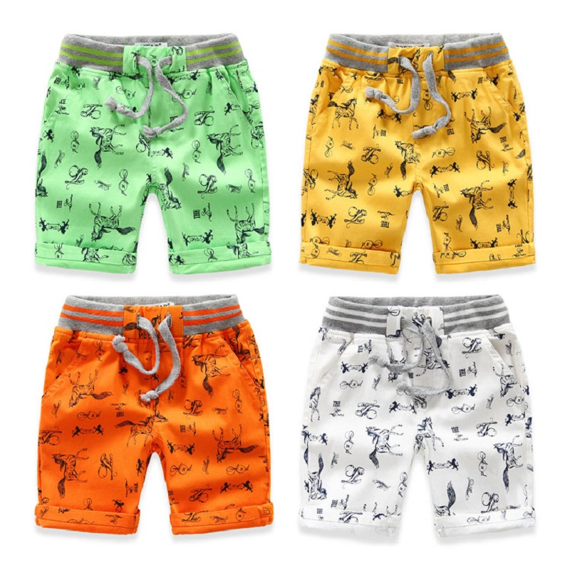 Cartoon Printed Horse Summer Boys   Shorts   Brand Breathable Linen Cotton Children   Shorts   For Boys 2-7 Years Kids Clothes