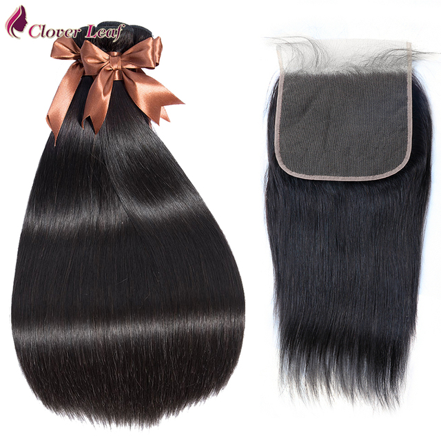 Clover Leaf Brazilian Straight Hair Weave 3 Bundles With 7*7 Lace Closure Human Hair 7X7 Lace Closure With Remy Hair Bundles
