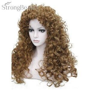 Image 5 - Perruque synthétique bouclée Blonde brune noire, perruque de Cosplay longue pour femmes