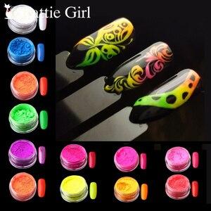 Image 2 - 12 renkler/set Neon Pigment tırnak tozu toz Ombre tırnak Glitter degrade Glitter yanardöner akrilik toz Nail Art dekorasyon