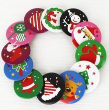 10pcs Christmas ID Badge patterns randomly Party Santa Claus Snowman XMAS Tree stocking patterns Button brooch Pin new year gift