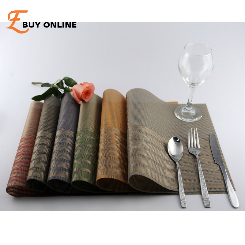 Hot Sale 8 Color PVC Table Placemat Kitchen Dinning Waterproof Table Cloth  Pad Mat Table Decoration