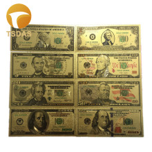 Free Shipping US Dollar Gold Banknotes Set 1.2.5.10 ,20.50.100. 100 Double Logo Pure Foil Banknote 8pcs/lot