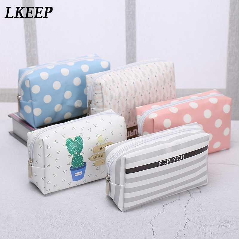 Korean Style Toiletry Bags Travel PU Leather Cosmetic Bag Small Organizer  Women Makeup Bag Make up 4ad40cd3438cf