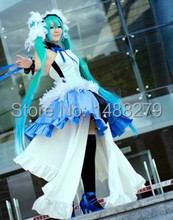 Anime Vocaloid Hatsune 7th Dragon 2020 Miku Cosplay Costume Gorgeous Blue Dress