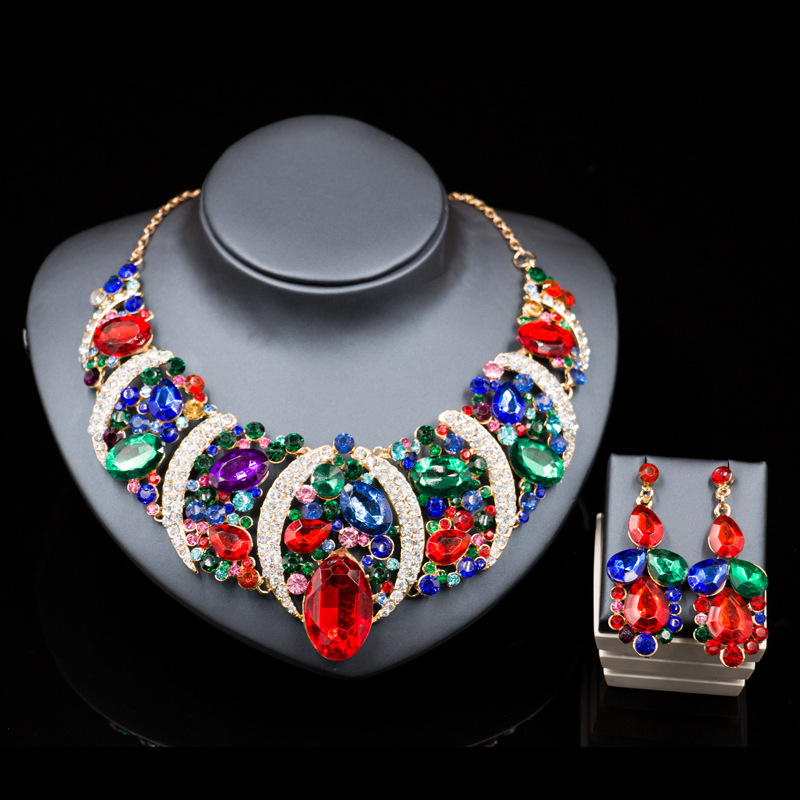 6 colors Jewelry sets Gold plated Statement necklace for party wedding Women Trendy Crystal Boho Fashion