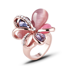 2019 New Selling Korean Jewelry flower Rings Rose Gold color Cute Flowers Colourful Crystals And Opals For Women J02727