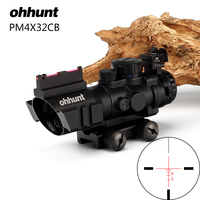 ohhunt 4x32 Compact Riflescope Tri Illuminated Rapid Ranging Reticle with Back Up Fiber Optic Front and Rear Sight