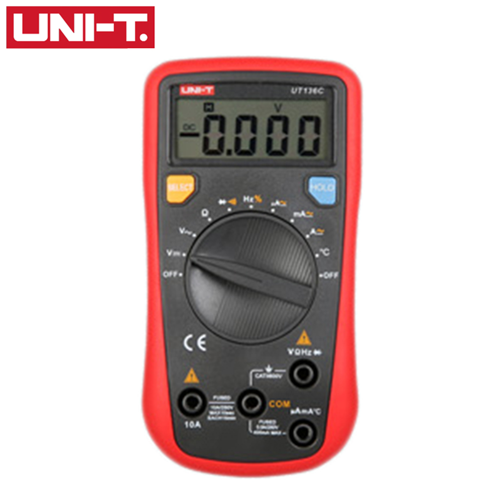 UNI-T UT136C Auto Range Digital Multimeter Temperature Frequency Resistance AC DC Voltage Current Meter Tester