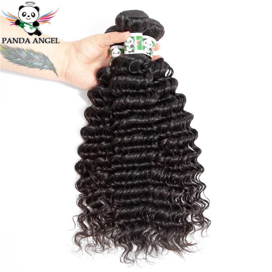 Panda Angel Hair глубокие пучки волнистых волос с закрытием перуанские волосы 3 шт Remy человеческие волосы пучки с закрытием