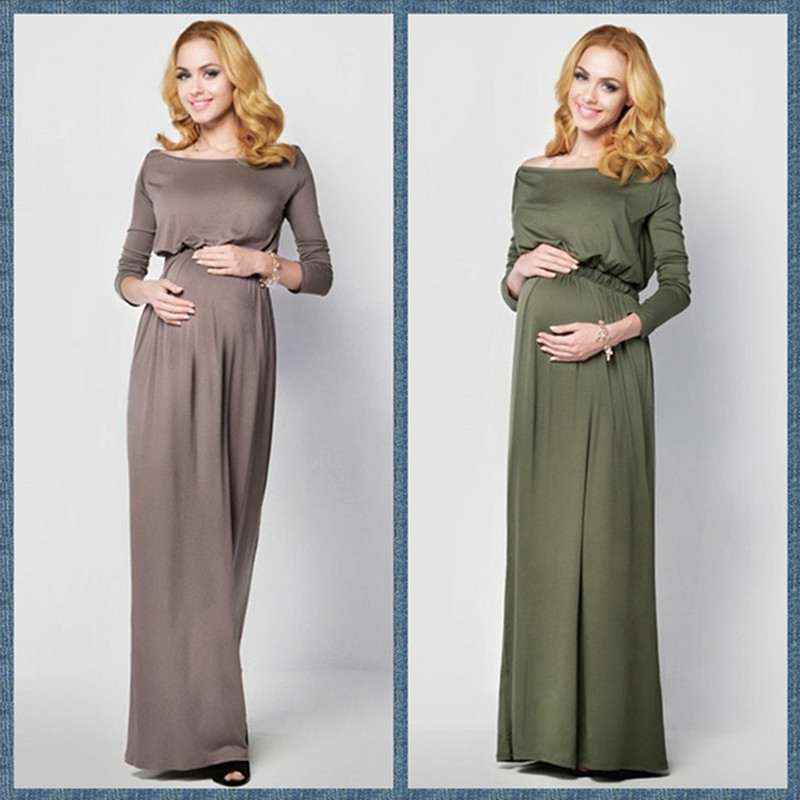 New Maternity Dress for Photo Shoot Maxi Maternity Gown Sexy Maternity Photography Props Elegant long sleeve Soft Fashion Dress long sleeve waisted maxi dress