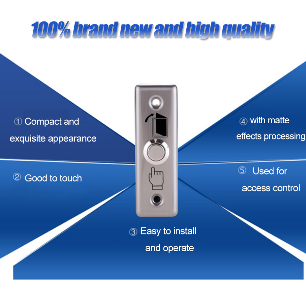 LESHP K13 Durable Stainless Steel Door Exit Push Release Button Switch For Access Control With LED Light