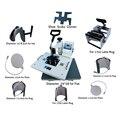 Versatilidad digital 9 en 1 combo Camiseta tapas de tazas shoes flat prensa del calor de la máquina de impresión con alta calidad