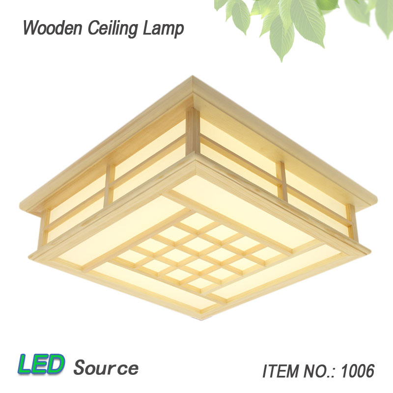 Japanese Style Tatami Wood Ceiling Pinus Sylvestris Ultra-thin LED Lamp Natural Color Square Grid Paper Ceiling Lamp FixtureJapanese Style Tatami Wood Ceiling Pinus Sylvestris Ultra-thin LED Lamp Natural Color Square Grid Paper Ceiling Lamp Fixture
