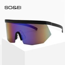SO&EI New Retro Oversized Screen Sunshade Sunglasses Women Outdoor Windproof Lens UV400 Men Colorful Driving Sun Glasses