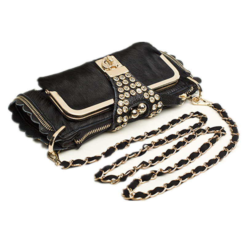Women Evening Crystal Clutch Bags Horsehair Genuine Leather Clutches Ladies Party Hand Bags Chain Shoulder Crossbody Bags Female 4