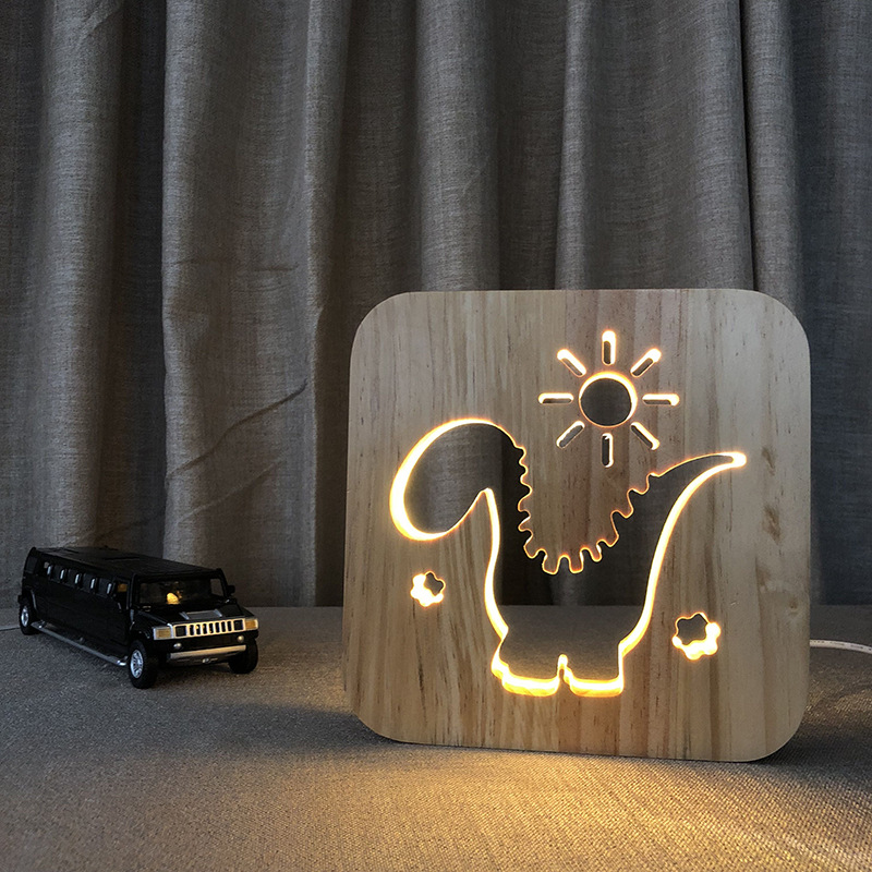 Cute Cartoon Dinosaur Wooden Night Lights Hollow Out Design Warm White Lighting USB Table Desk Lamp For Baby Kids Gift