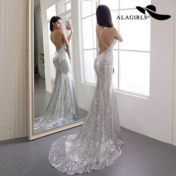 2020 Sexy Mermaid Silver Evening Dress with Train V-Neck Sequin Prom Dress Backless Formal Party Dress Вечернее платье