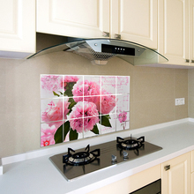 Pink Rose Self-adhesive Kitchen Oil-proof Sticker High Temperature Stove Waterproof Hood Wall Stickers Wallpaper Cabinet Sticker