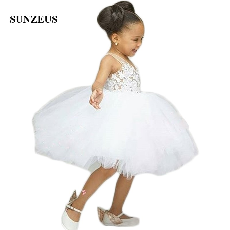 V Neck Sheer Tank White   Flower     Girls     Dresses   Knee Length Puffy Ball Gown First Communion   Dresses   with Appliques Birthday SF55