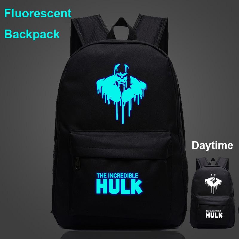 Hot Fluorescent Letter The Flash Captain America Boy Girl School Bag Women Bagpack Teenagers Schoolbags Canvas Men Backpacks image