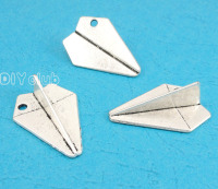 20pcs Antique Silver 3D Paper Aircraft Charms Pendant Paper Airplane Charm 31x22x10mm
