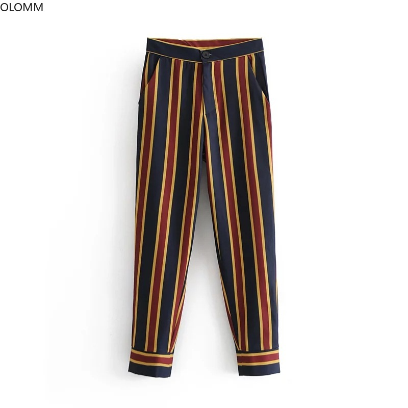 Women's Suits 2019 Summer New Women's Temperament Striped Belt Small Suit Jacket Wild Slim Pants Two Sets