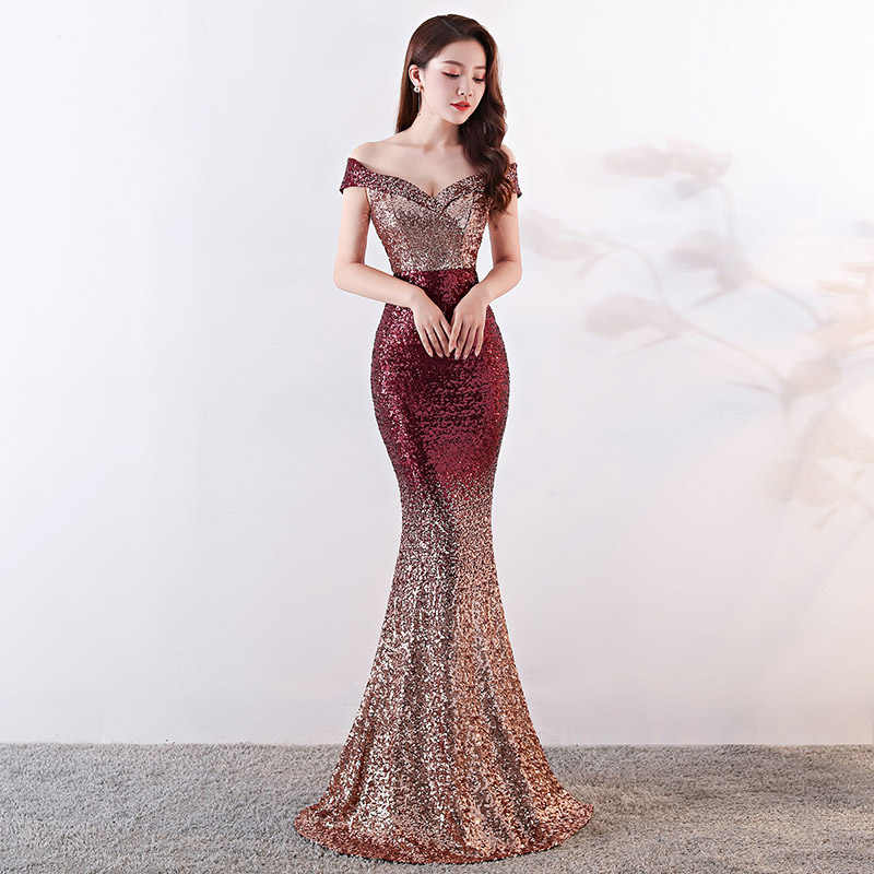 4244ec7578 Red   Gold Gradient Sequins Off The Shoulder Mermaid Sexy Luxury Evening  Party Dresses Elegant Women