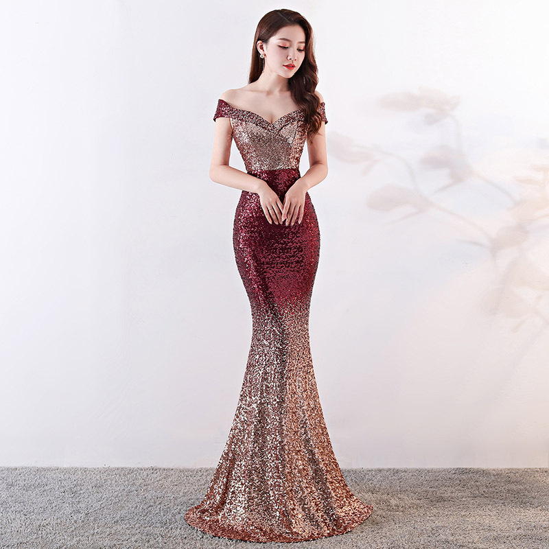 Red & Gold Gradient Sequins Off The Shoulder Mermaid <font><b>Sexy</b></font> <font><b>Luxury</b></font> Evening Party <font><b>Dresses</b></font> Elegant Women <font><b>Dress</b></font> Summer <font><b>2018</b></font> Clubwear image