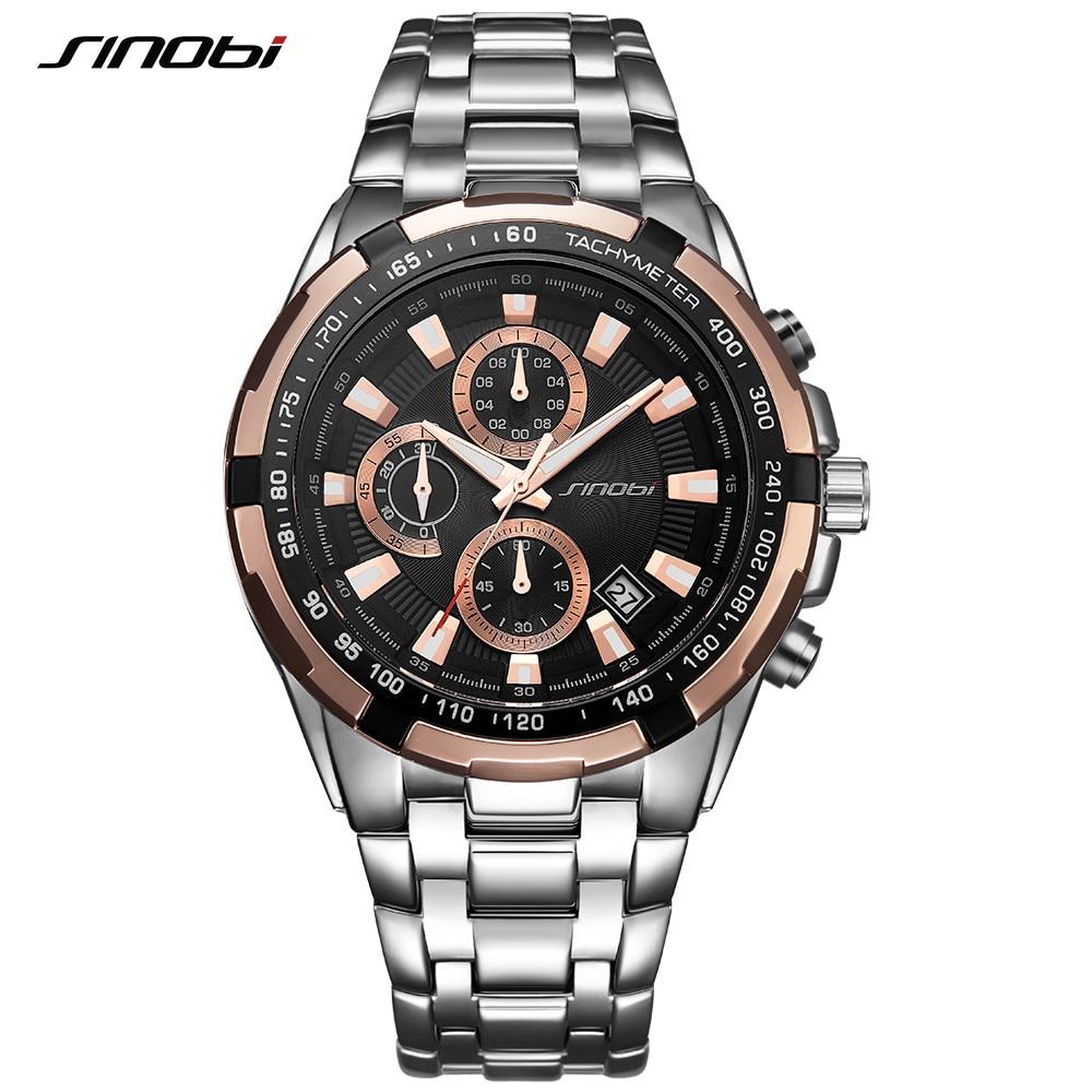 Sinobi 9720 Men's Business New Gold Chronograph Watch Waterproof Stainless Steel Top Band Quartz Sports Watch Relogio Masculino
