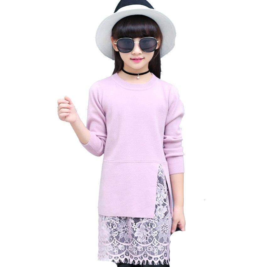Kids Dresses for Girls Lace Straight Dresses Princess Vestidos Infantil Child Open Fork Patchwork Sweater Dresses 4 8 9 12 Years