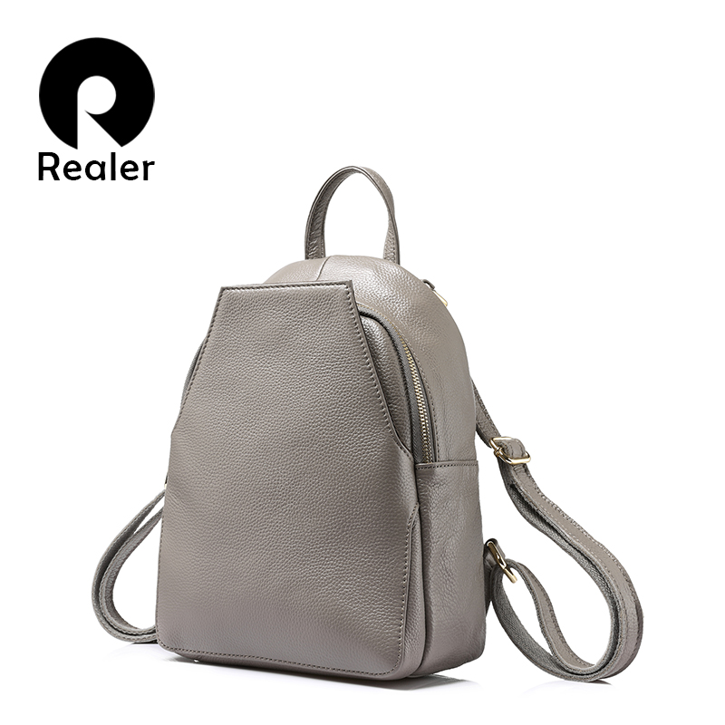 REALER fashion women backpack female genuine leather backpacks for girls teenagers schoolbag small backpack ladies shoulder bag