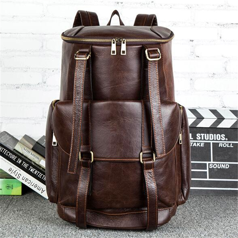 100% Genuine Leather Backpack Large Capacity Cow Leather Travel Bags High Quality Bucket Bag For Man /Women Vintage Laptop Bag