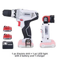 NEWONE 12V electric Drill Cordless Drill Screwdriver Mini Drill electric drilling and led light with 2 battery and 1 charger