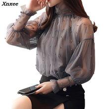 Summer Beading Fashion Blouse Sexy Lace Chiffon Blouse Long Lantern Sleeve Causal Tops Shirts Plus Size Femme Blusas Femininas недорого