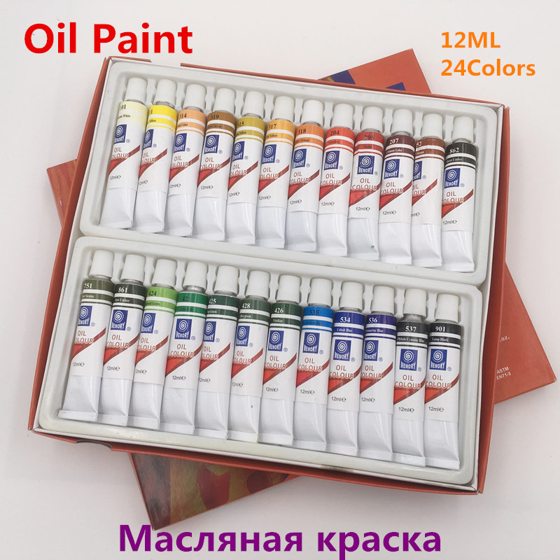Freeshipping Oil Paints Professional Painting Paint Canvas Pigment Huilt Fine 24 Colors 12ML Tube White Black For Artists